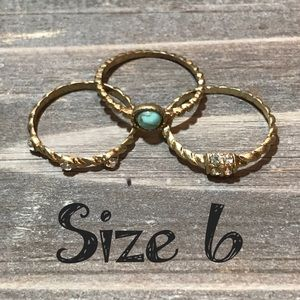 💍3 ring bundle Lot rhinestone size 6 jewelry